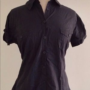 Navy Button Down Cap Sleeve Top from H&M